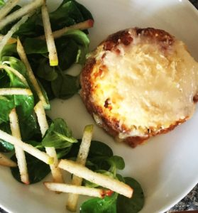 Twice baked cheese souffle with pear salad
