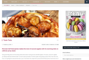 Menu Dorset Media recipe tarte tatin