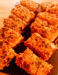 Carrot, red onion, coriander and smoked cheddar cheese bake Dinner Party Shaftesbury caterer and Personal chef service that covers Somerset and Dorset including Weymouth, Sherborne, Bruton, Bridport, Dorchester,  Lyme Regis, Weston and Yeovil