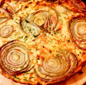 Red onion carrot courgette crustless quiche Dinner Party Shaftesbury caterer and Personal chef service that covers Somerset and Dorset including Weymouth, Sherborne, Bruton, Bridport, Dorchester, Lyme Regis, Weston and Yeovil