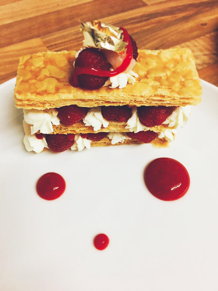 Raspberry and lychee Mille feuille with a Rosemary cream raspberry and rose sauce and gold leaf www.stevejamesltd.com #millefeuille #rosemary #cream #raspberry #lychee #rose #goldleaf #personalchef #somersetchef #dorsetchef #privatechef #caterer dinner party Yeovil