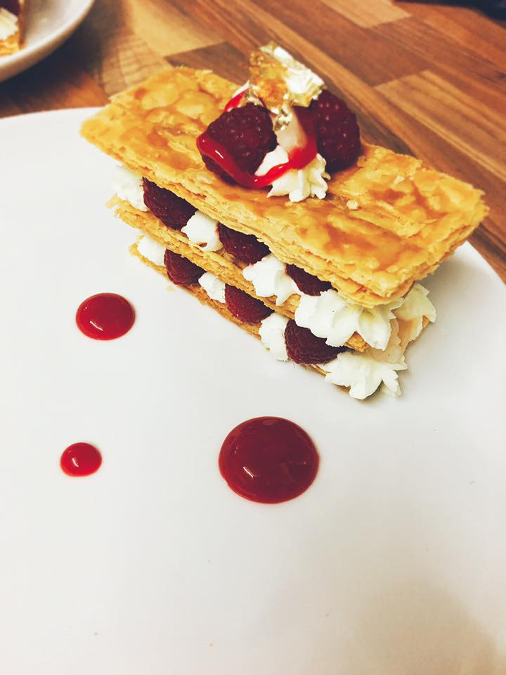 Raspberry and lychee Mille feuille with a Rosemary cream raspberry and rose sauce and gold leaf www.stevejamesltd.com #millefeuille #rosemary #cream #raspberry #lychee #rose #goldleaf dinner party Yeovil #personalchef #somersetchef #dorsetchef #privatechef #caterer