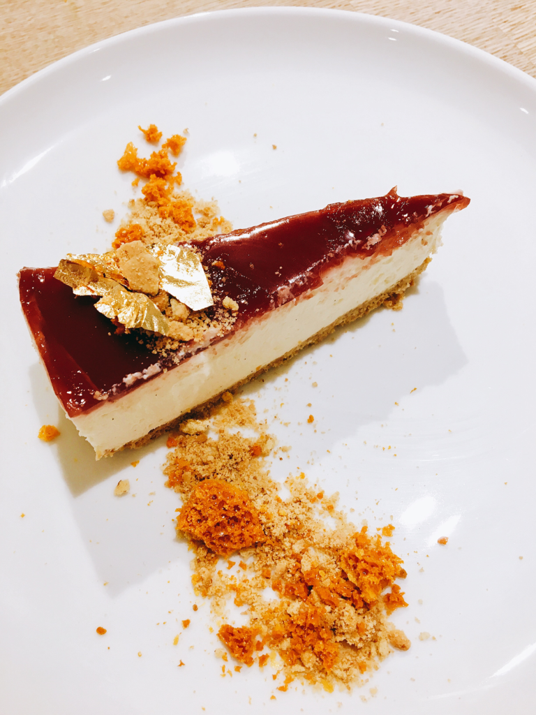 Weymouth hen party pomegranate and vanilla cheesecake with honeycombe and biscuit crumb