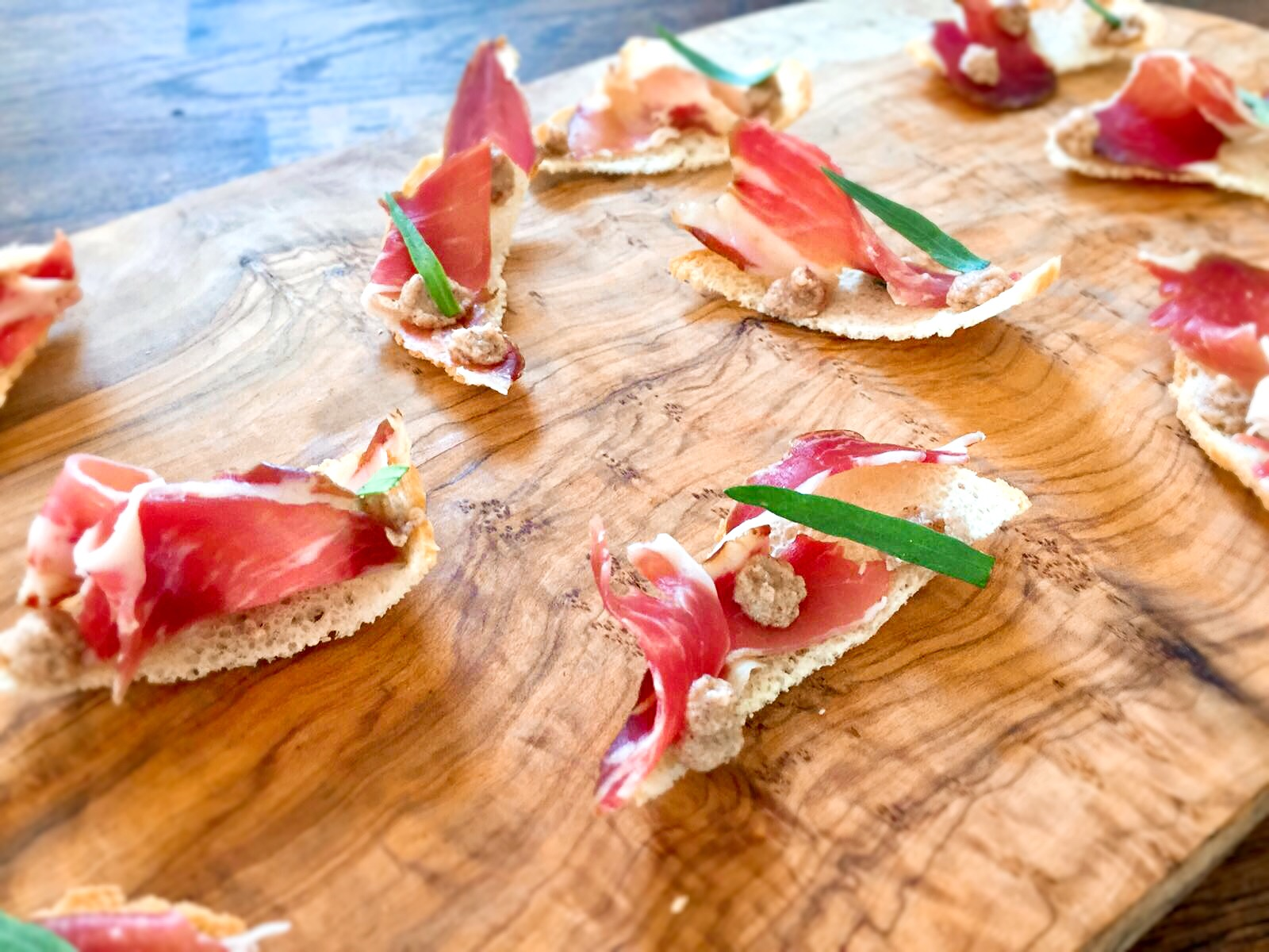 personal chef in stawley Parma ham On bread chips with hazelnut butter and sage