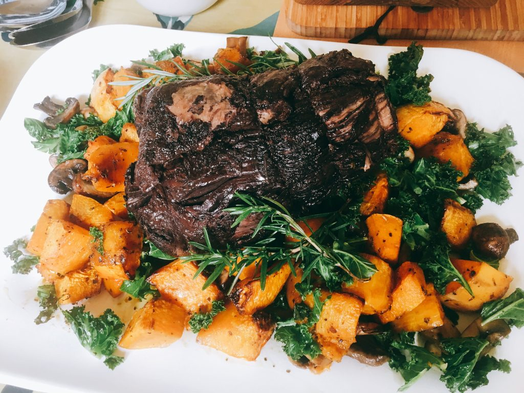 braised beef brisket with kale squash sage and mushrooms Lytes Cary Manor