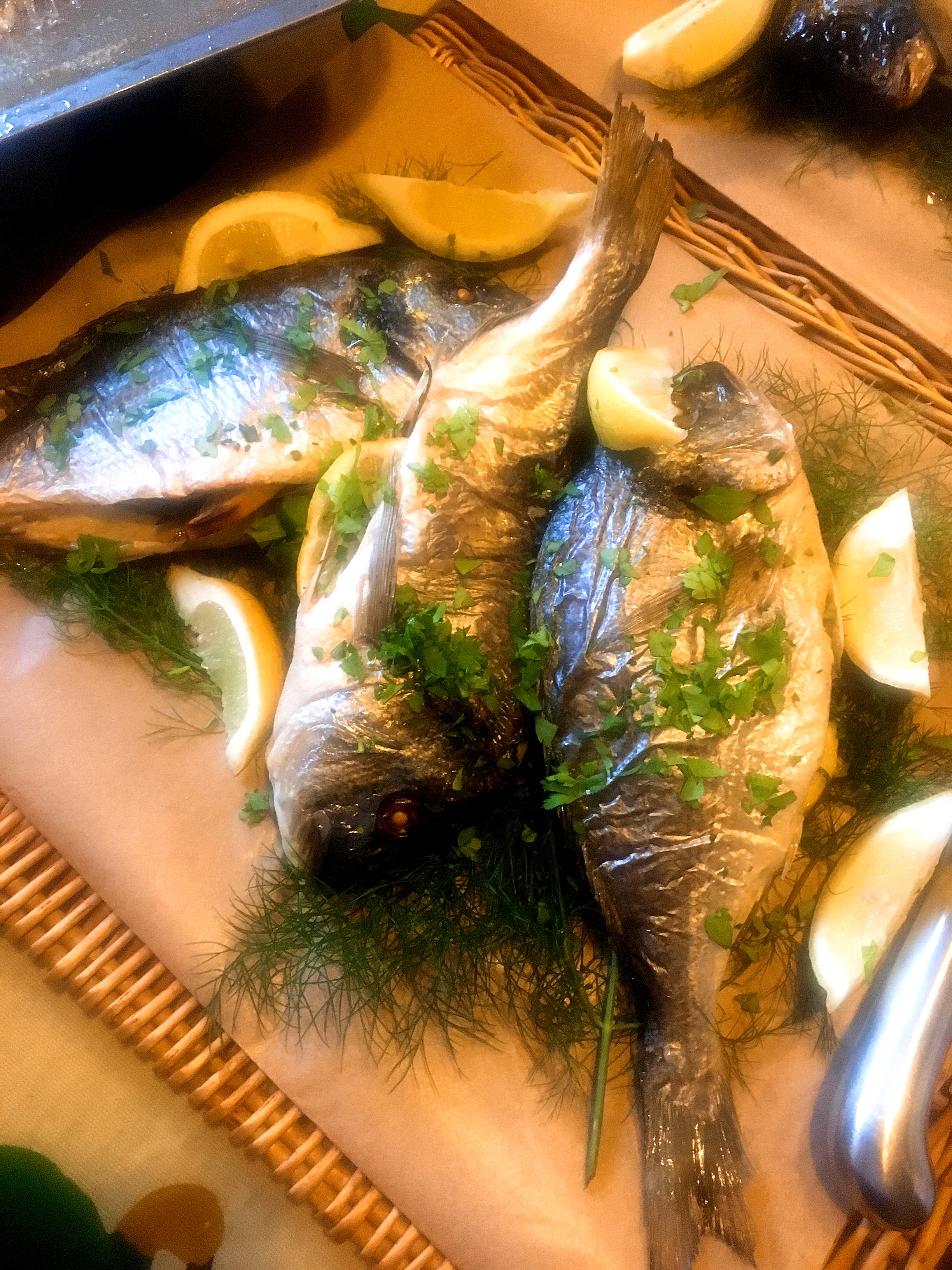 personal chef Somerton roasted sea bream
