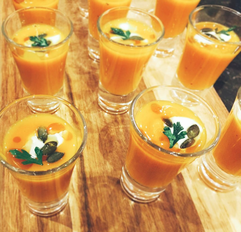 Autumn Menu 2017 butternut squash veloute, hen party catering with parsley crisp, oat creme fraiche and pumpkin seeds, Beer, Seaton