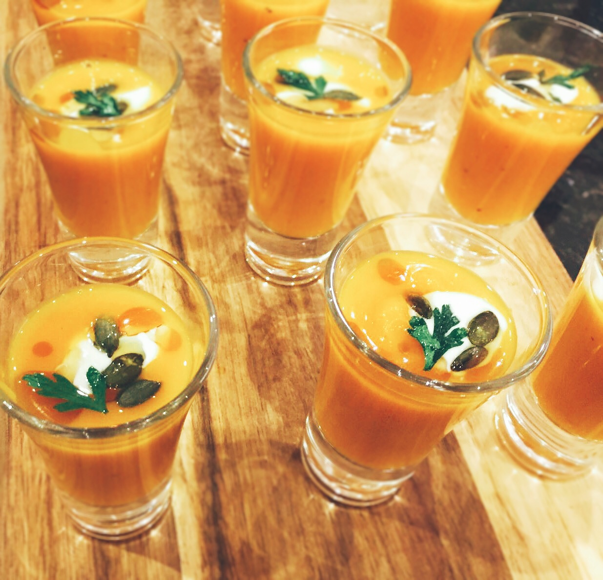 butternut squash veloute, hen party catering with parsley crisp, oat creme fraiche and pumpkin seeds, Beer, Seaton