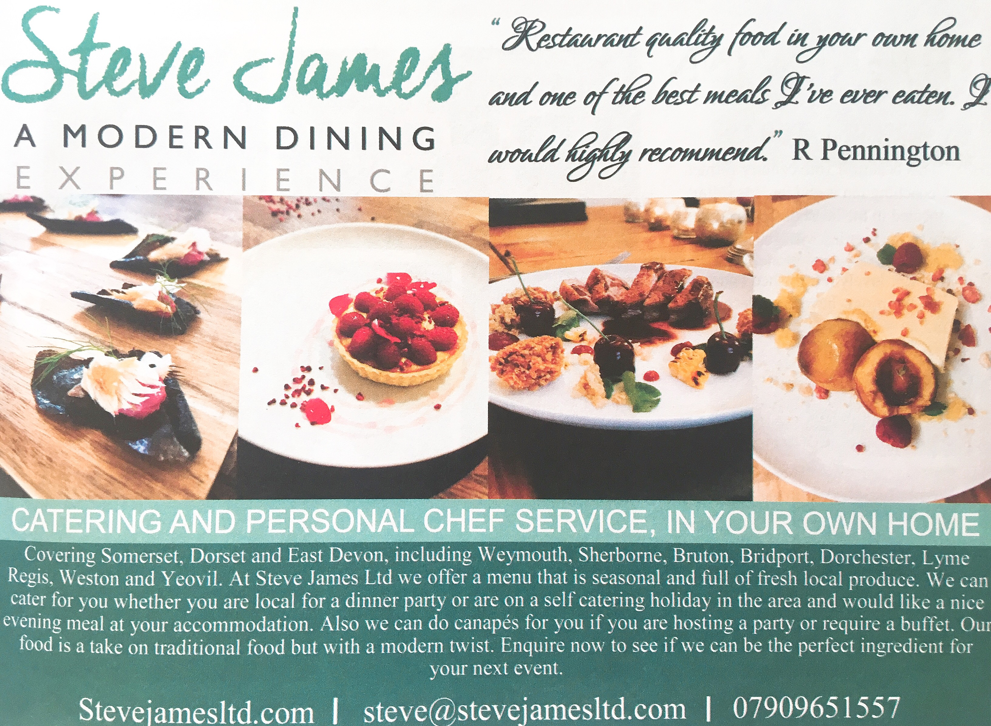 Advert Menu Dorset Magazine