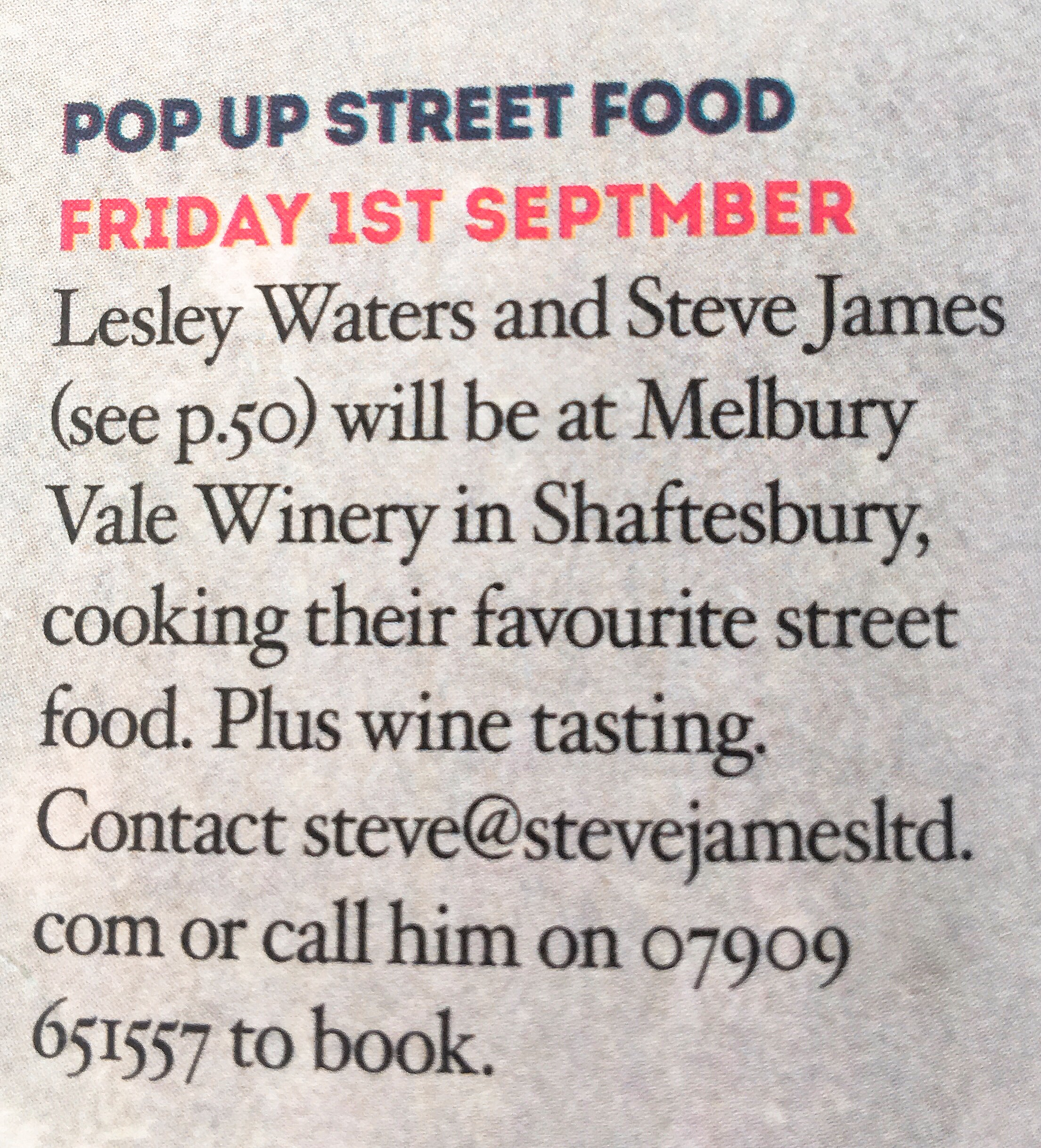 Menu Dorset Magazine Pop up street food restaurant listing