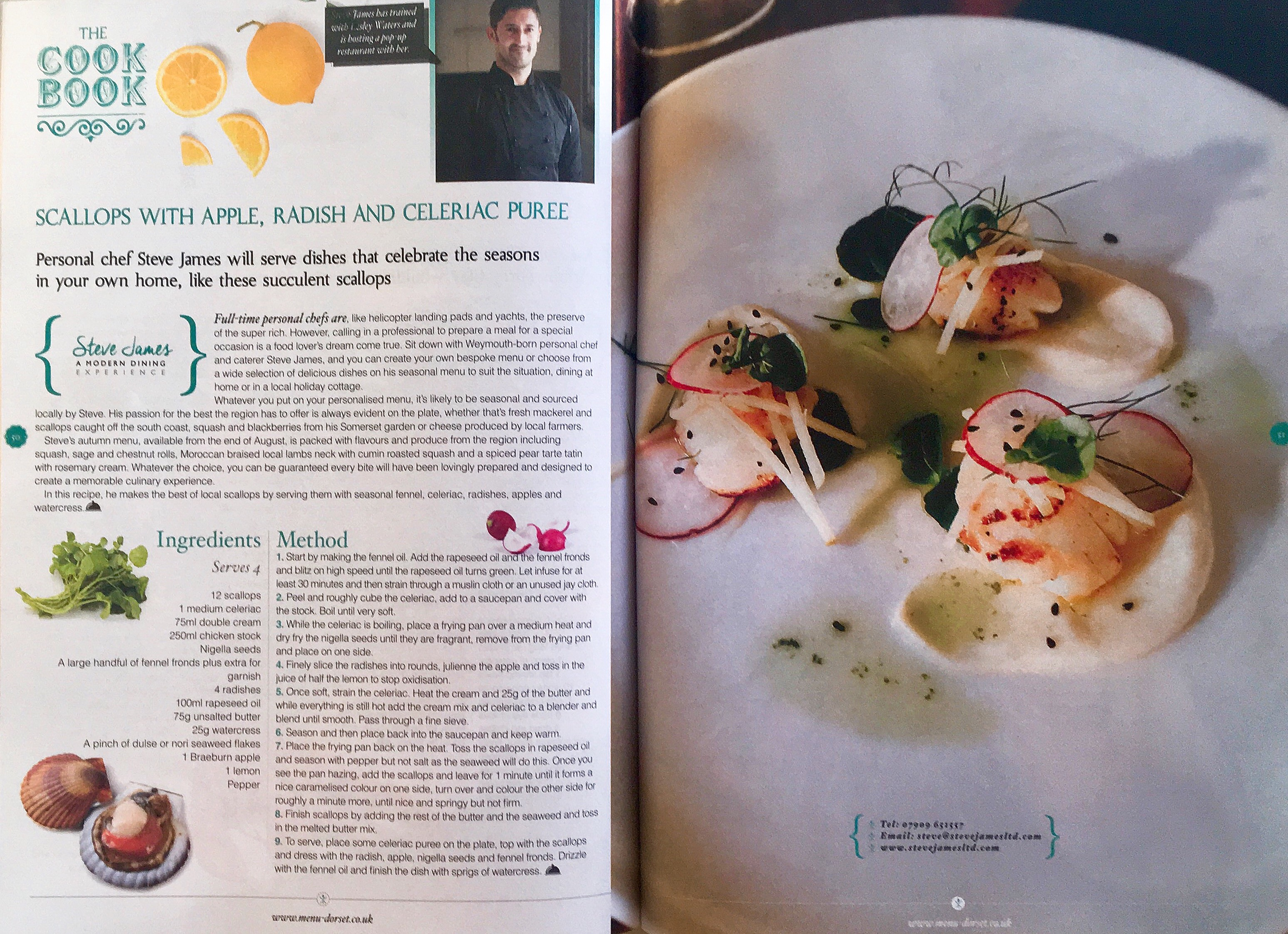 Menu Dorset Magazine Steve James scallop recipe