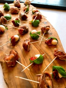 dolcelatte stuffed figs wrapped in prosciutto with sundried tomato mozarella and basil skewers personal chef Steve James Somerset Dorset Caterer.txt