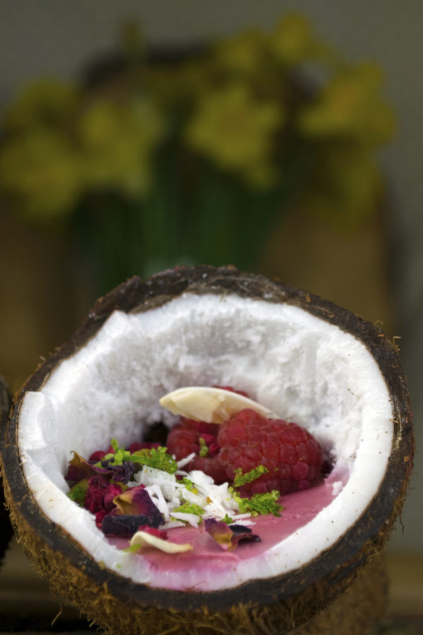 coconut raspberry and rose posset personal chef caterer somerset dorset east devon Spring Menu 2018