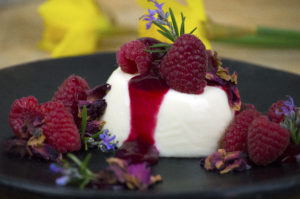 raspberry rosemary rose panna cotta personal chef caterer catering private chef somerset dorset east devon weymouth taunton langport bridport beaminster dorchester exeter
