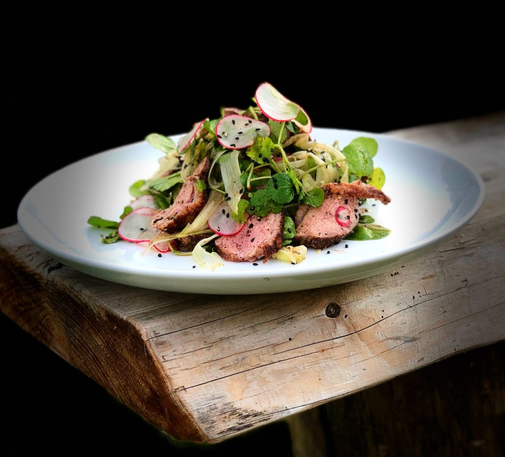 Japanese seven spice duck breast with watercress, radish and fennel with sesame dressing