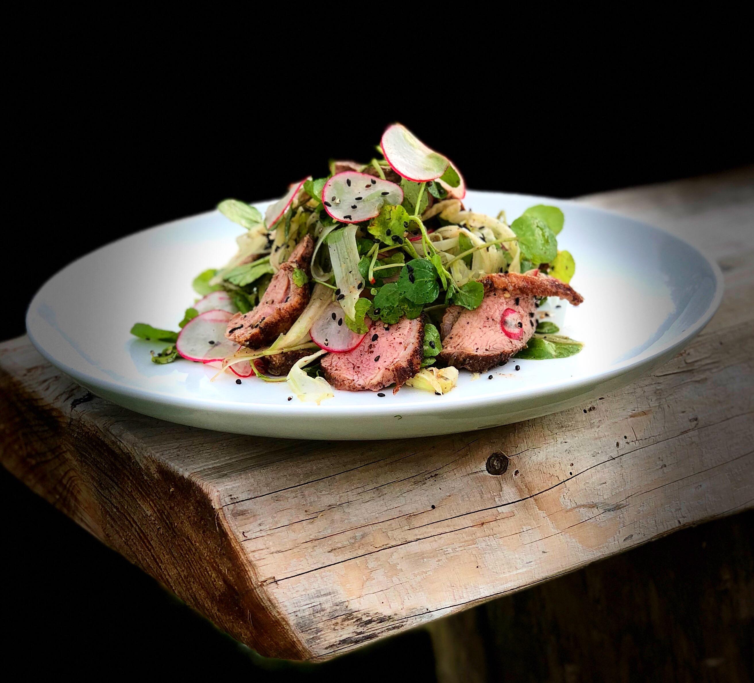 best sneakers 5b2a2 97a6a Japanese seven spice duck breast with watercress, radish and ...