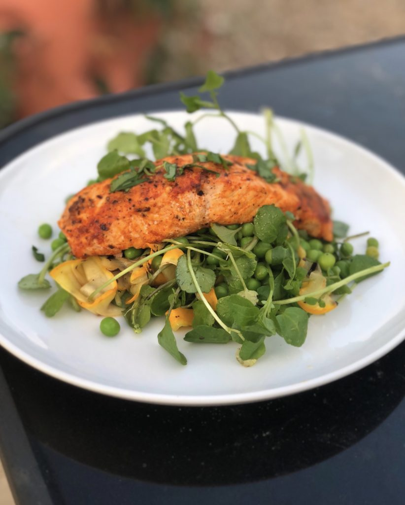 Sicilian Salmon with watercress, courgette and pea salad