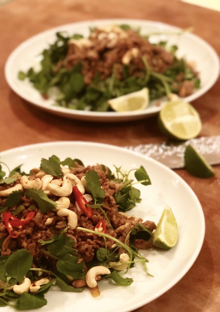 Asian turkey mince with watercress and toasted cashew nuts