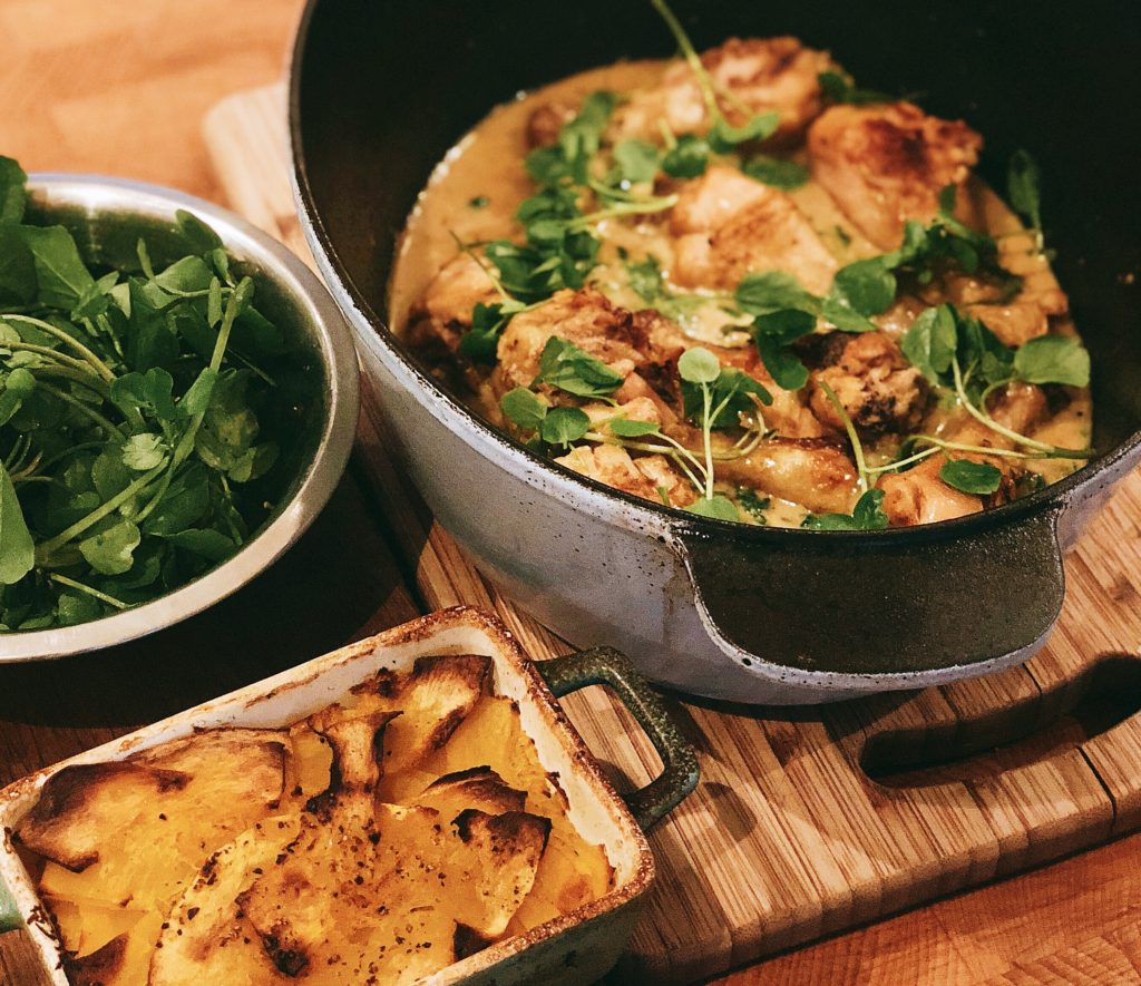 Chicken in a creamy mustard and watercress sauce