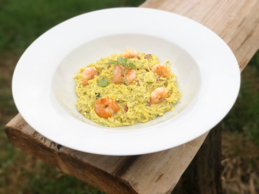 squashetti with prawns and watercress